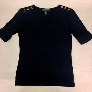 Ralph Lauren Navy Half Sleeve Top
